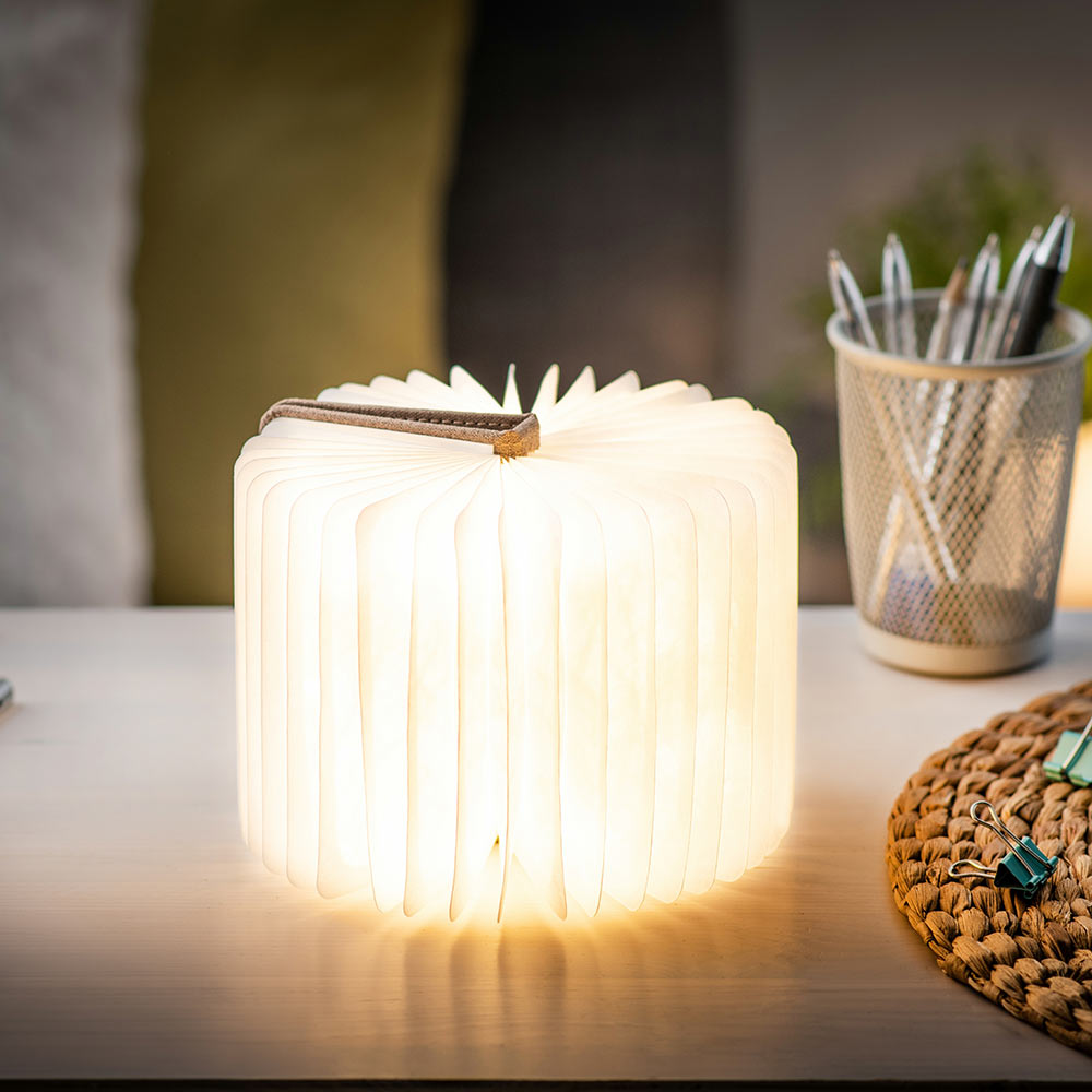 מנורת ספר חכם קטן - בד פשתן ורוד סומק