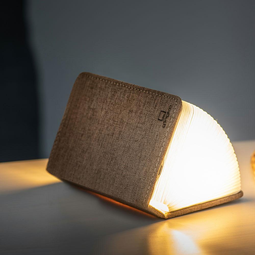 מנורת ספר חכם קטן - בד פשתן חום