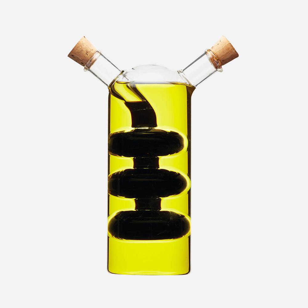 בקבוק כפול מזכוכית לשמן זית וחומץ בלסמי