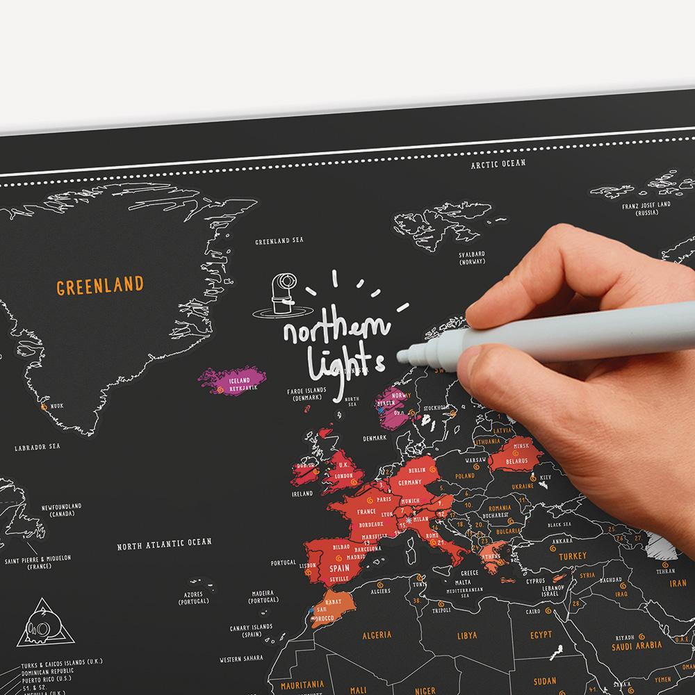 מפת עולם מתגרדת לוח גיר