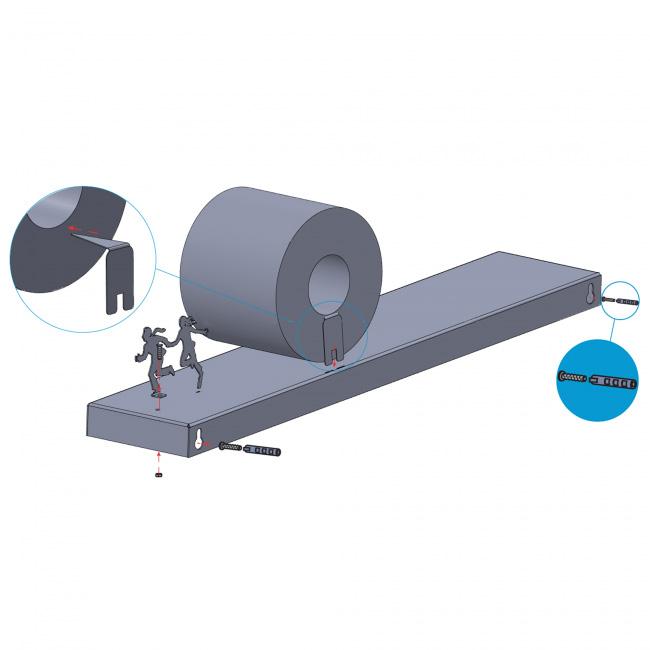 מפולת - מדף אלכסוני לאחסון גלילי נייר טואלט
