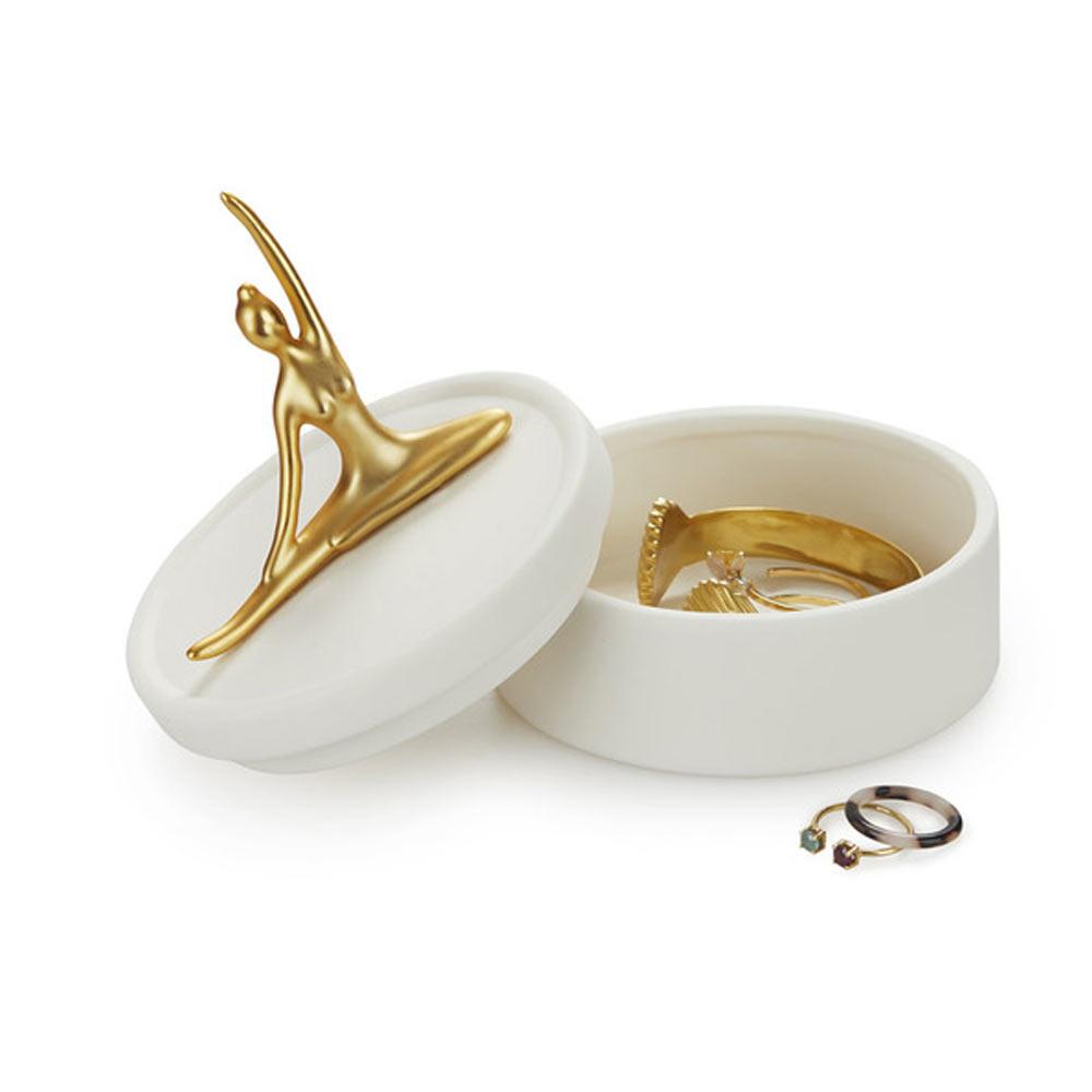 קופסת תכשיטים רקדנית מוזהבת Ballerina