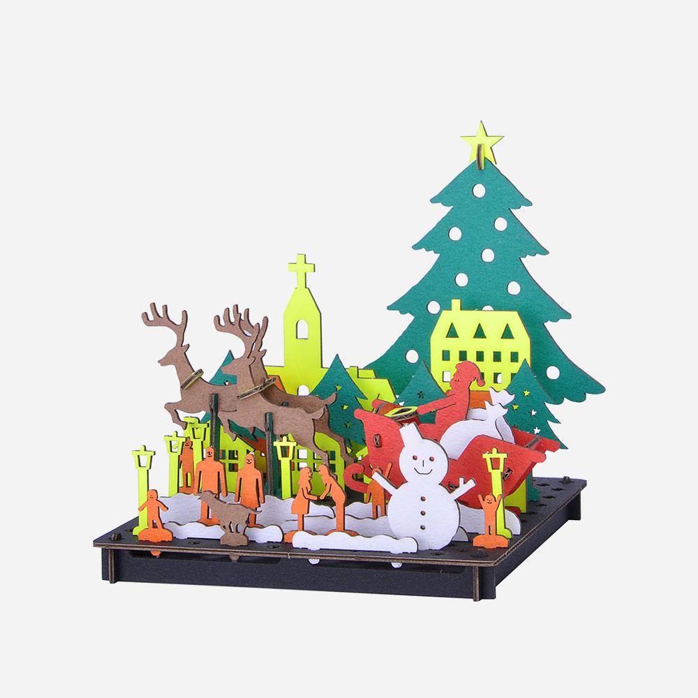 חג המולד להרכבה בתלת-ממד - אומנות יפנית בקרטון