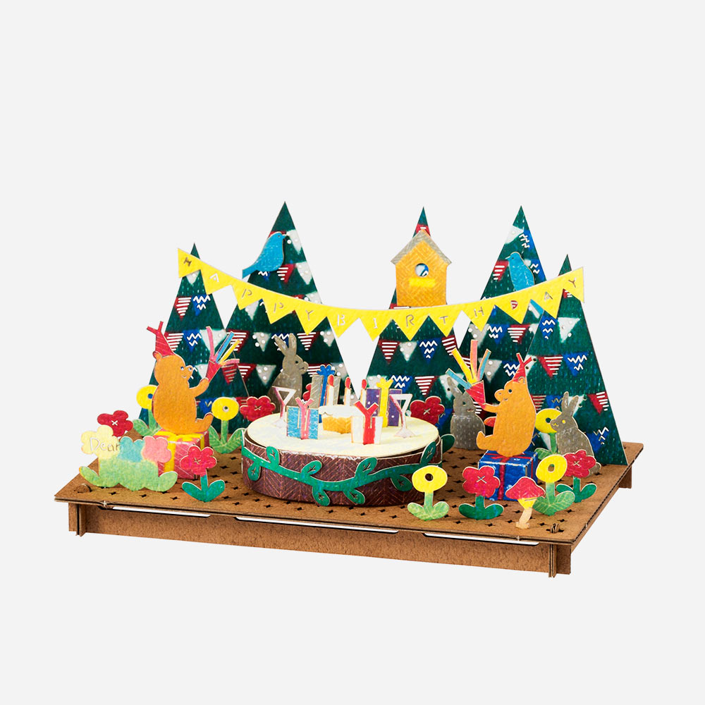 ברכת יום-הולדת להרכבה בתלת-ממד - אומנות יפנית בקרטון