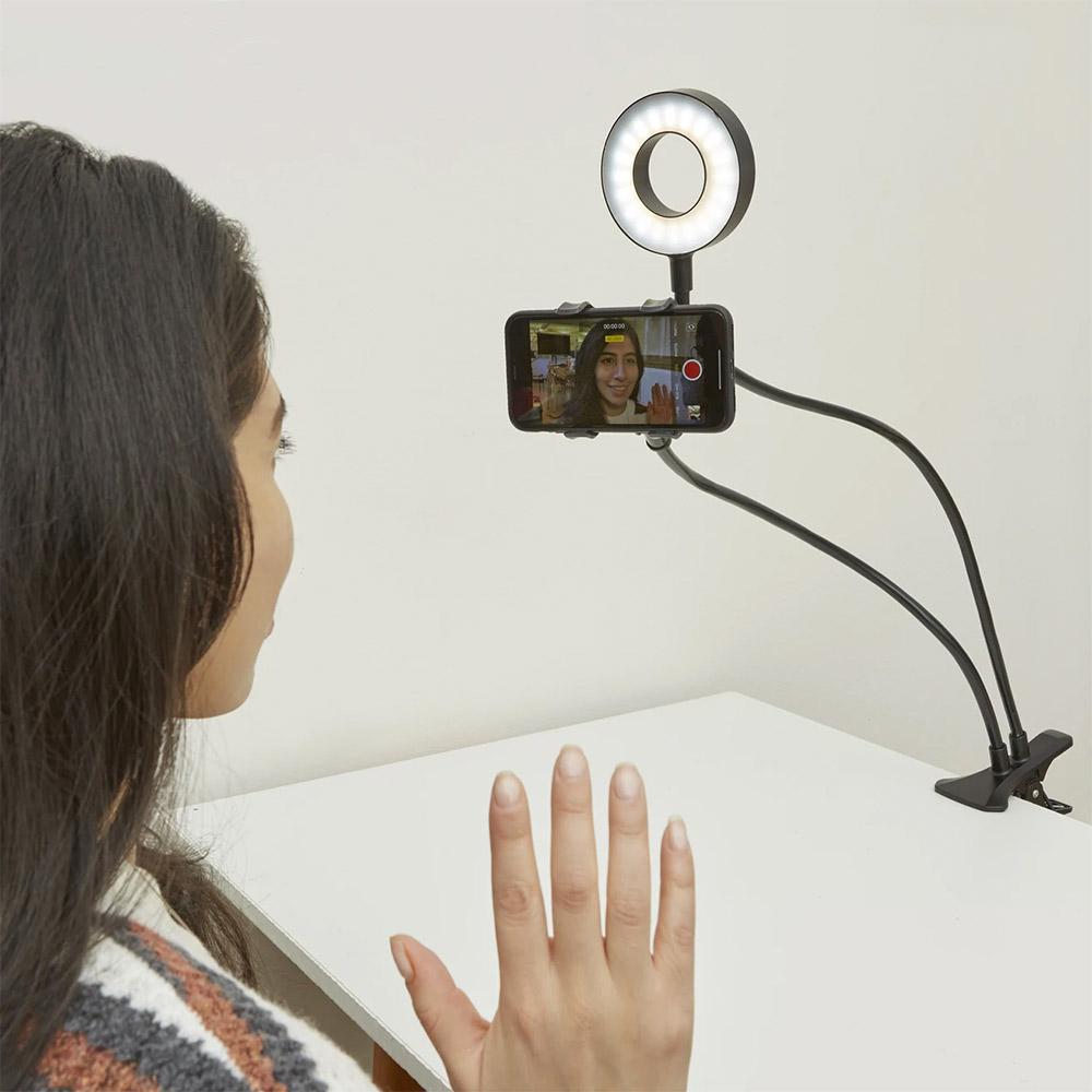 ערכה לשידור לייב - מעמד לטלפון עם מנורה