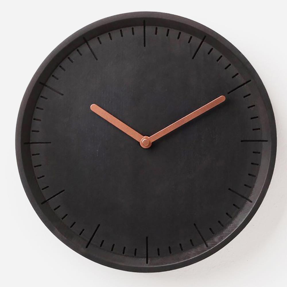 מטר שעון קיר שחור מעץ מלא Meter
