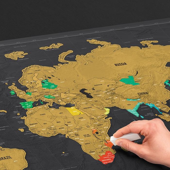 מפת עולם מתגרדת דלוקס XL