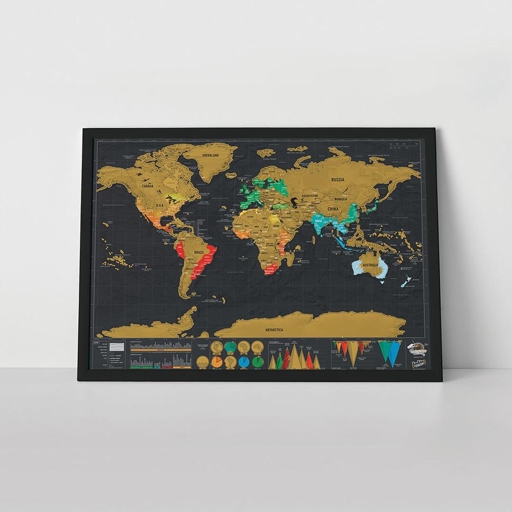 מפת עולם מתגרדת למטיילים דלוקס