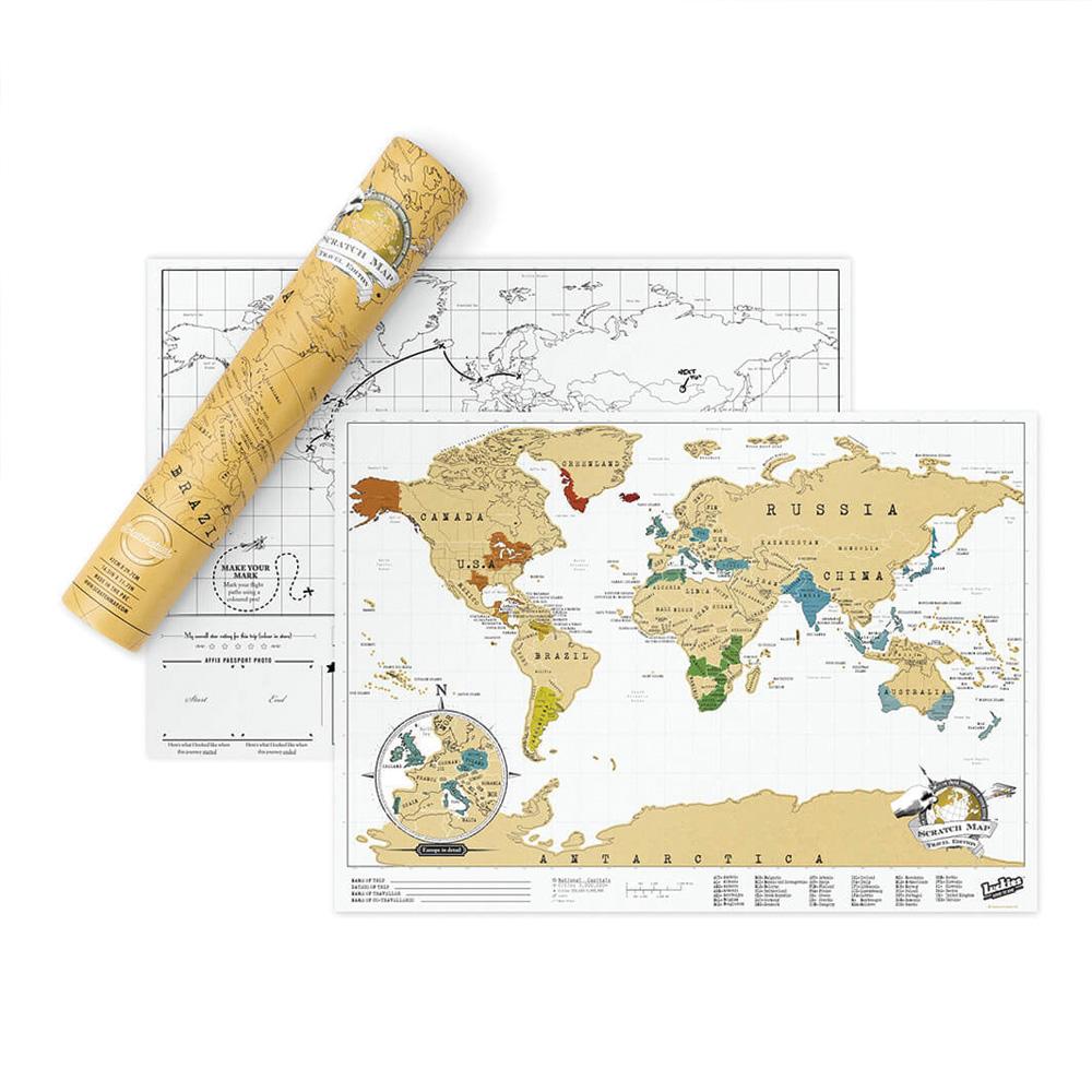 מפת עולם מתגרדת למטיילים