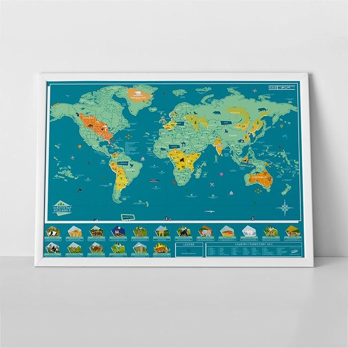 מפת עולם מתגרדת ספארי
