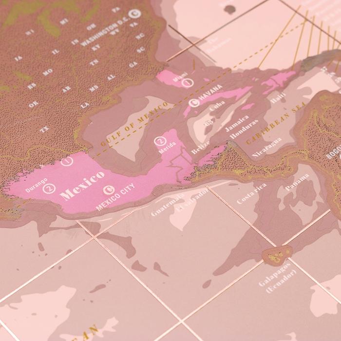 מפת עולם מתגרדת Rose Gold