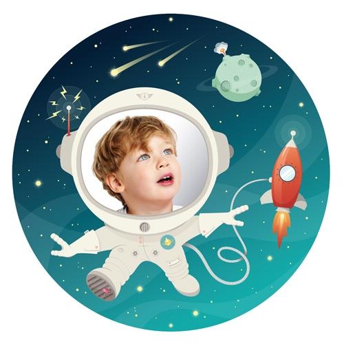 Space Kid - מדבקת קיר עם מראה