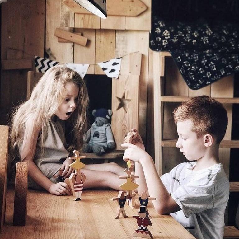 טה-דה משחק שיווי משקל קרקס מעץ