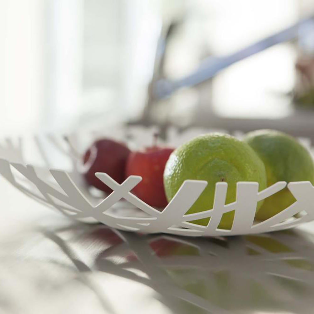 קערת פירות שטוחה לבן